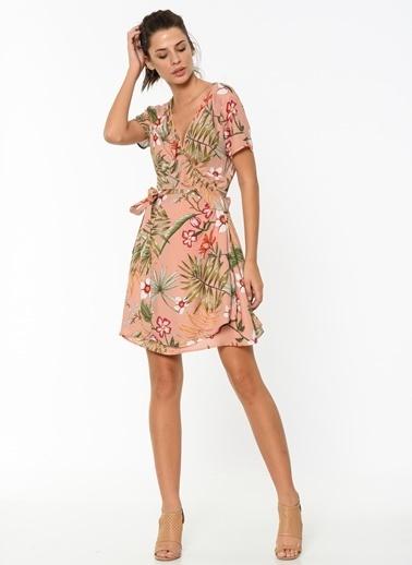 Only Çiçekli Mini Kruvaze Elbise Pembe